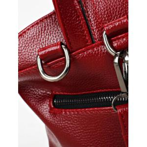 PU Leather Double Pocket Magnetic Closure Backpack -