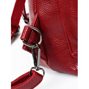 PU Leather Double Pocket Magnetic Closure Backpack - WINE RED