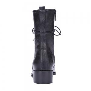 Lace-Up Eyelet PU Leather Combat Boots -