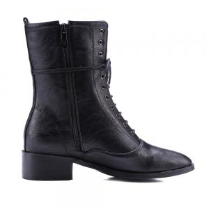 Lace-Up Eyelet PU Leather Combat Boots - BLACK 39
