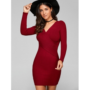 Long Sleeve Knit Ribbed Bodycon Dress - WINE RED ONE SIZE