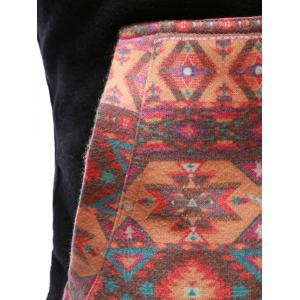 Geometric Print Splicing Long Sleeve Zip-Up Hoodie -