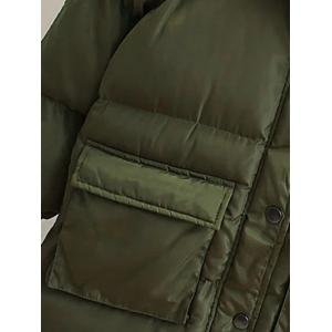 Patched Puffer Coat wtih Hood -