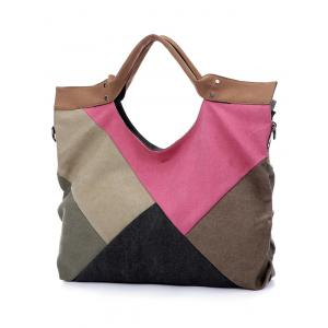 Color Splicing Patchwork Canvas Tote Bag -