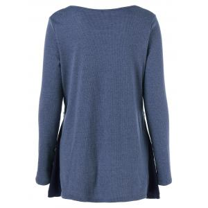 Ribbed Asymmetrical Blouse - AZURE BLUE XL