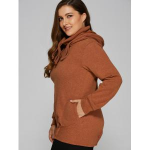 Slouchy Pullover Hoodie With Pockets - TEA-COLORED M