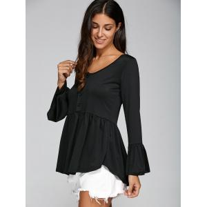 Flare Sleeve Peplum T-Shirt with Half Button - BLACK XL