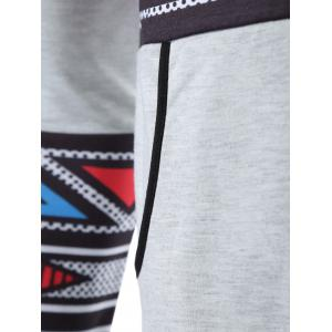 Geometric Print Kangaroo Pocket Hoodie - GRAY XL
