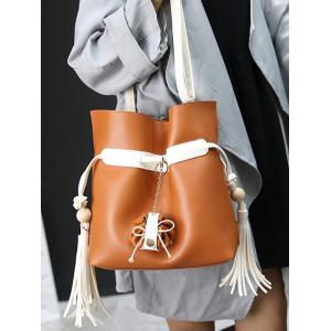 Magnetic Closure Tassels Colour Spliced Crossbody Bag -