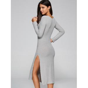 V Neck Slit Longline Jumper Dress - GRAY M