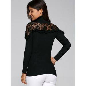 Lace Trim Insert Ruffles Turtleneck Knitwear - BLACK L