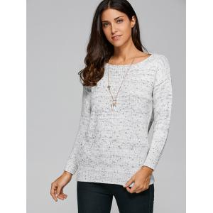 Loose Fit Back Criss-Cross Sweater - LIGHT GRAY ONE SIZE