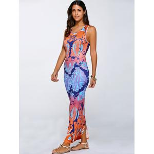 Racerback Back Slit Tie-Dyed African Maxi Dress -