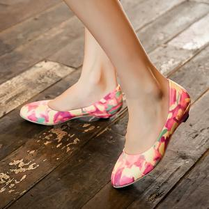 PU Leather Colour Spliced Flat Shoes - ROSE MADDER 40