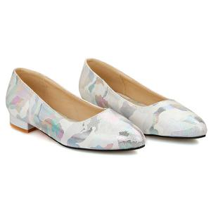 Printed Colour Spliced PU Leather Flat Shoes - OFF WHITE 40