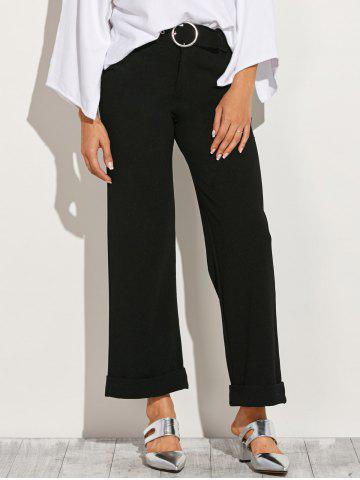 Unique Belted Roll-Up Wide Leg Pants