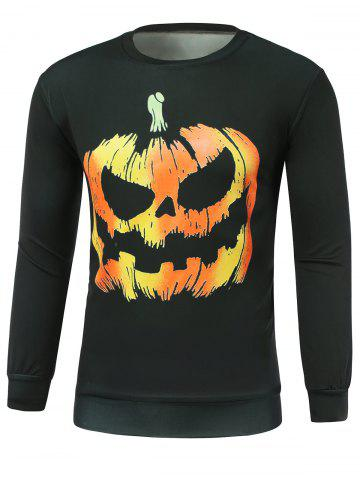 Discount Halloween Pumpkins Skulls Printed Round Neck Sweatshirt BLACK 2XL
