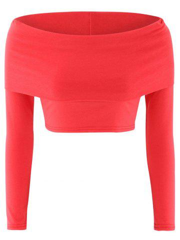 Long Sleeves Off The Shoulder Crop Top - Red - M