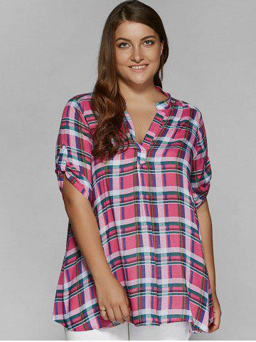 Outfit Plus Size Adjustable Sleeve Plaid Smock Blouse
