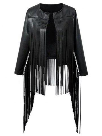 Best Fringed  Faux Leather Asymmetric Jacket