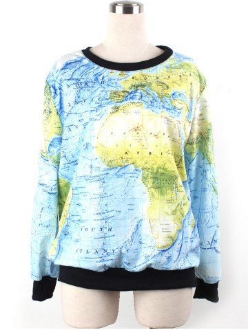 World Map 3D Print Sweatshirt