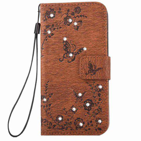 Unique PU Wallet Design Rhinestone Butterfly Phone Case For iPhone 6S - BROWN  Mobile