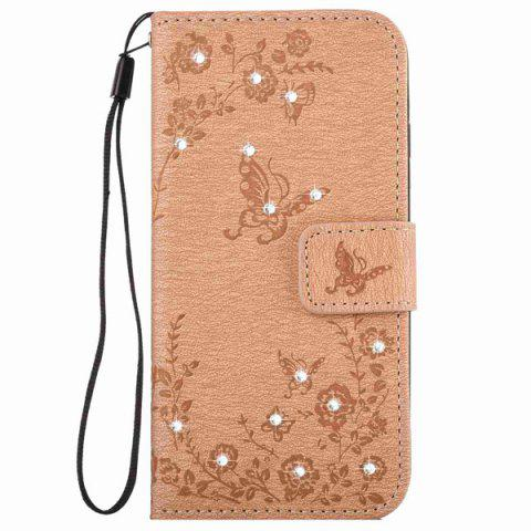 New Floral Rhinestone Wallet Design Phone Case For iPhone 6S Plus - KHAKI  Mobile