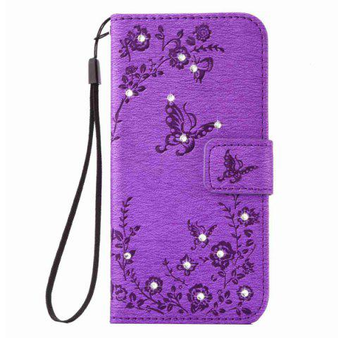 Trendy Floral Rhinestone Wallet Design Phone Case For iPhone 6S Plus - PURPLE  Mobile