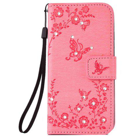 Chic Floral Rhinestone Wallet Design Phone Case For iPhone 6S Plus - PINK  Mobile
