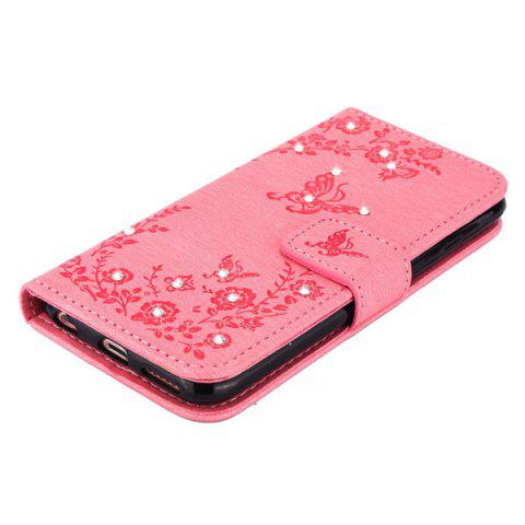 Latest Floral Rhinestone Wallet Design Phone Case For iPhone 6S Plus - PINK  Mobile