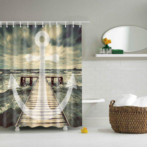 Cheap Bath Decor Sea Wave Printed Waterproof Polyester Shower Curtain
