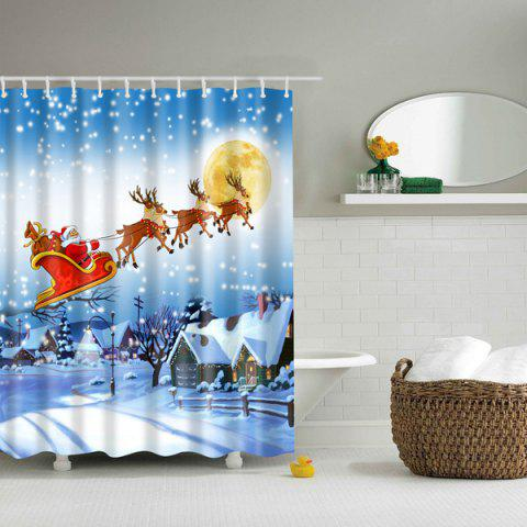 Best Thicken Waterproof Polyester 3D Christmas Santa Shower Curtain COLORFUL L