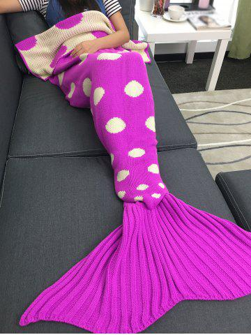Outfits Comfortable Polka Dot Knitted Sleeping Bag Mermaid Taid Blanket - ROSE RED  Mobile