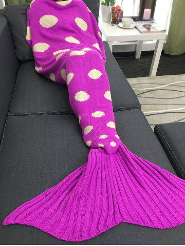 Unique Comfortable Polka Dot Knitted Sleeping Bag Mermaid Taid Blanket - ROSE RED  Mobile