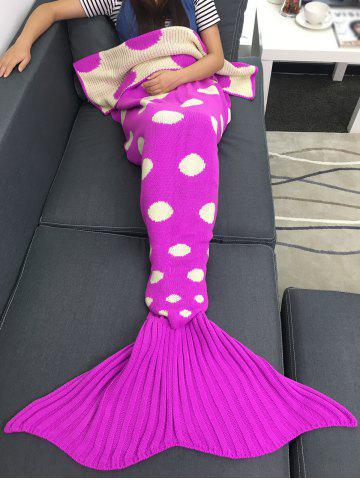 Chic Comfortable Polka Dot Knitted Sleeping Bag Mermaid Taid Blanket - ROSE RED  Mobile