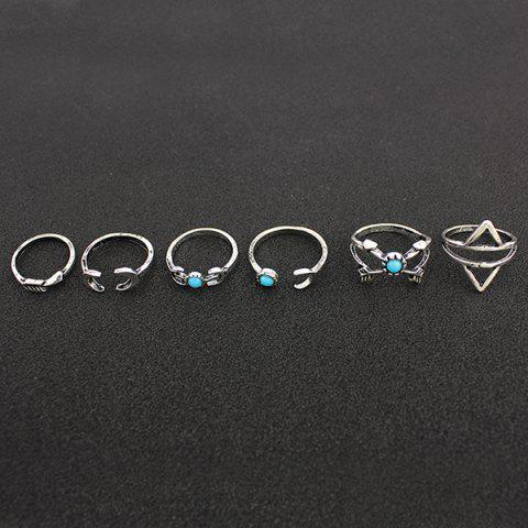 Cheap Faux Turquoise Moon Geometric Ring Set - ONE-SIZE SILVER Mobile