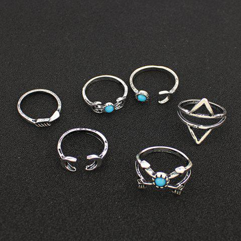 Sale Faux Turquoise Moon Geometric Ring Set - ONE-SIZE SILVER Mobile