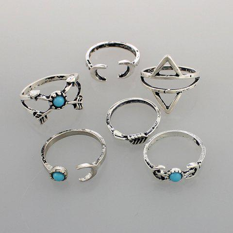 Discount Faux Turquoise Moon Geometric Ring Set - ONE-SIZE SILVER Mobile