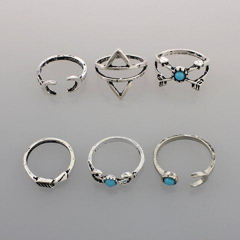 Chic Faux Turquoise Moon Geometric Ring Set - ONE-SIZE SILVER Mobile