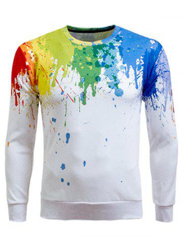 Fancy Paint Splatter Printing Long Sleeve Crew Neck Sweatshirt