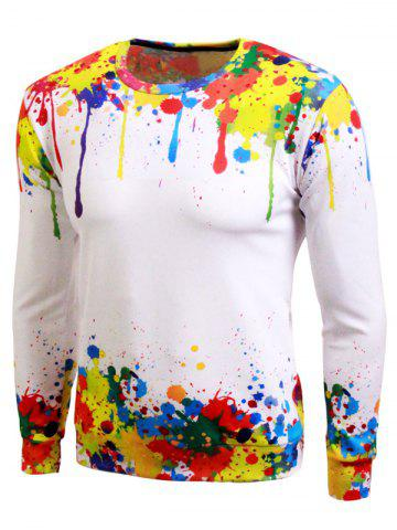 New Long Sleeve Paint Splash Print Crew Neck Sweatshirt