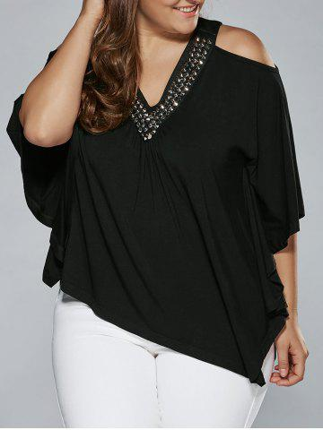Cheap Cold Shoulder Rhinestoned Embellished Asymmetrical Blouse