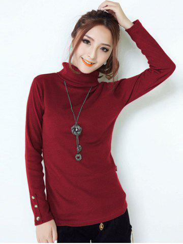 Buttoned Turtleneck Slimming Knitwear - DEEP RED 3XL