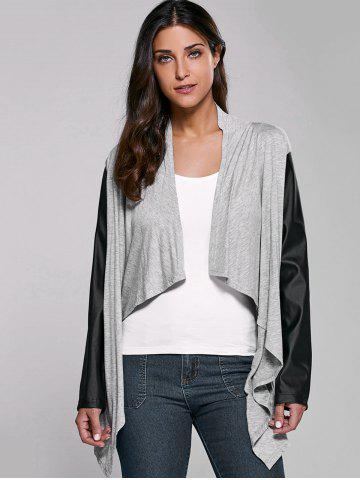 Trendy PU Sleeve Open Front Cardigan