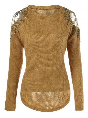 Fancy Lace Shoulder Knitted High Low Pullover