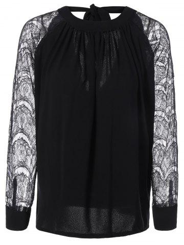 Chic Back Cutout Lace Spliced Blouse