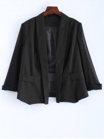 Store Plus Size Sheer Sleeve Blazer BLACK 5XL