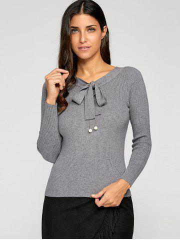 Discount Bow Collar Slimming Knitwear