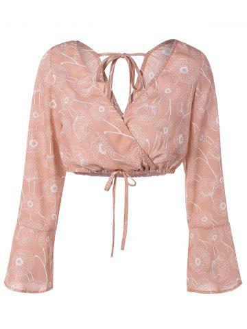 Shops Flare Sleeve Cropped String Blouse