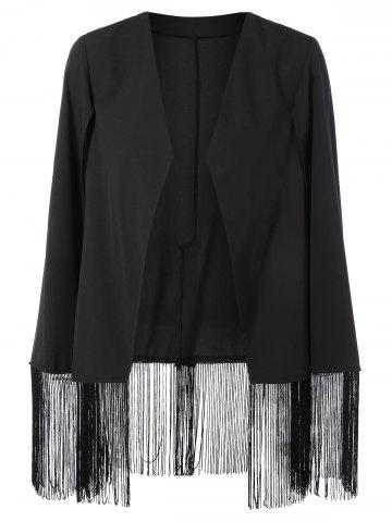 Asymmetric Fringed Cape Blazer - Black - Xl